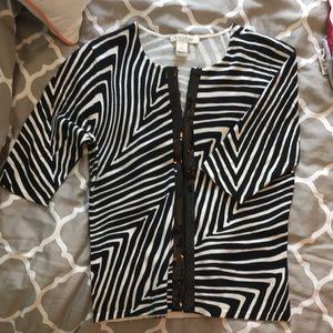 White House Black Market Zebra Cardigan